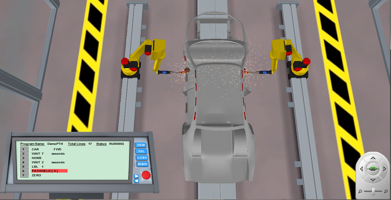 Robotics software simulates welding on an automobile.