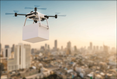 Delivery drone in city