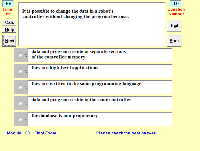 Image of online exams screen