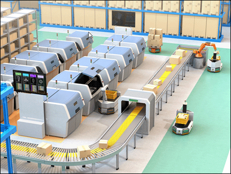 autonomous robots movie items from conveyor belts on factory floor