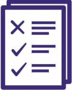 Icon of paper with checkmarks